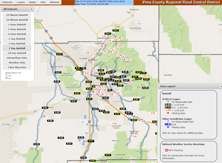 ALERT rainfall and streamflow monitoring map