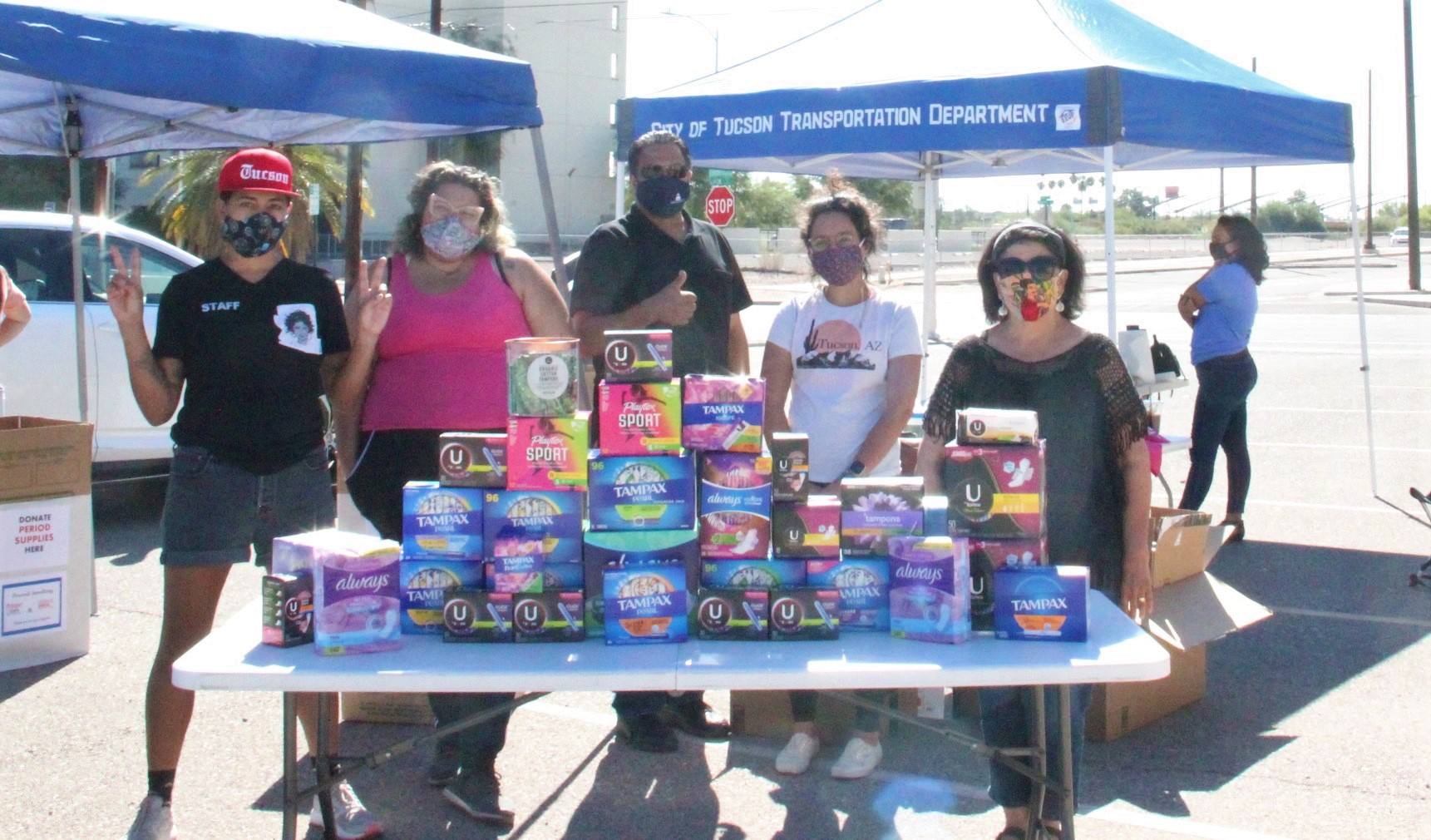menstrual product donation drive event photo