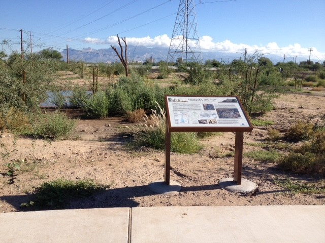 Water harvesting basin and interpretive signage