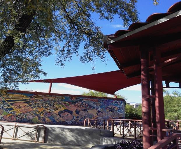 shade canopy with mural