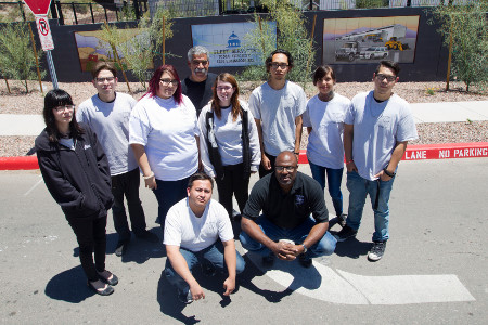 Las Artes students with mural