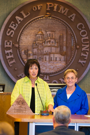 Cathy Hutton and Supervisor Bronson