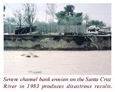 Severe channel bank erosion on the Santa Cruz River in 1983 produces disastrous results