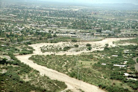 Aerial photograph of a wash