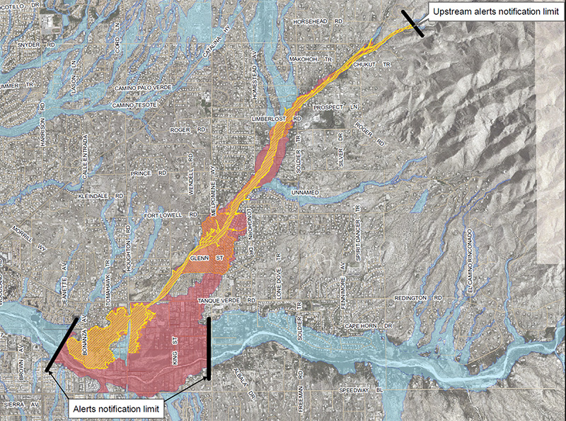 Map of Agua Caliente Wash inundation area (click for full map)
