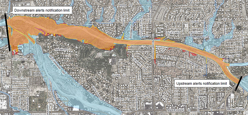 Map of Lower Tanque Verde Creek inundtion area