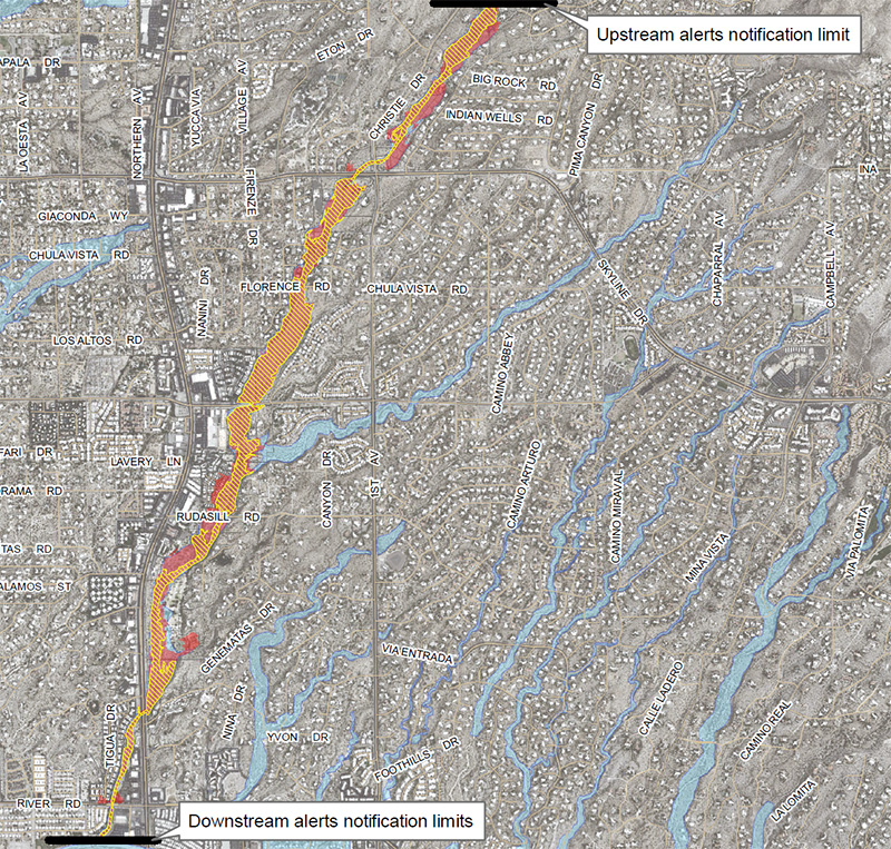 Click to view full map of inundation areas for Pima Wash, with legend.
