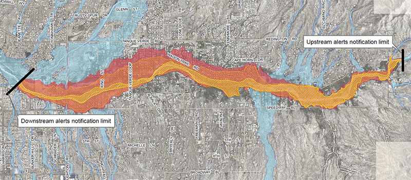 Flood inundation map for upper Tanque Verde Creek (click to view full map)