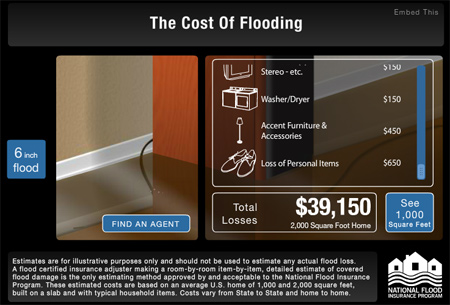Screen capture of Floodsmart.gov flood damage estimator