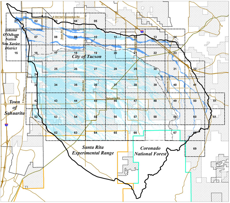 Clickable index map of the Lee Moore Wash Basin Management Study floodplain