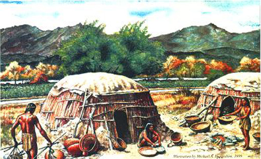 Native American village illustration