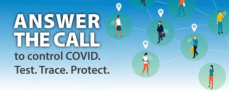 Banner Answer the call to control covid-19 test trace protect