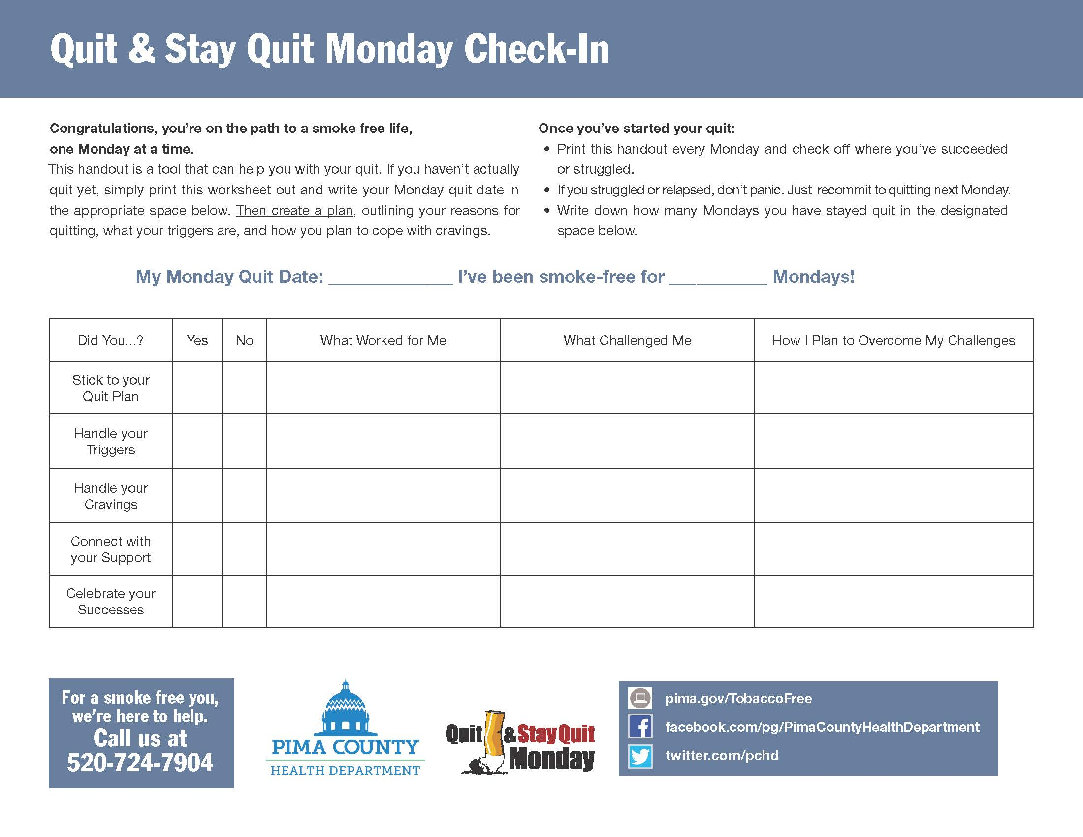 self check in sheet for quit and stay quit monday