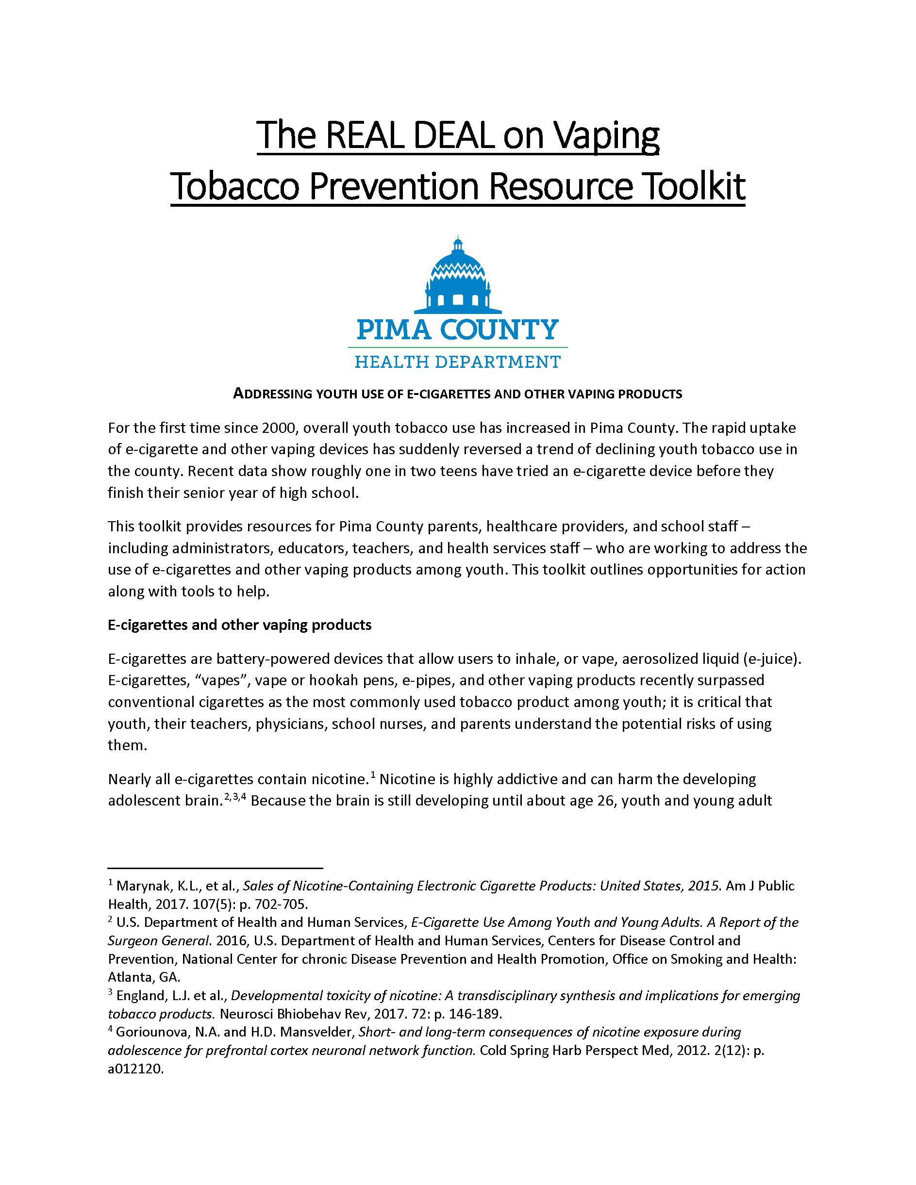 resource toolkit for the real deal on vaping