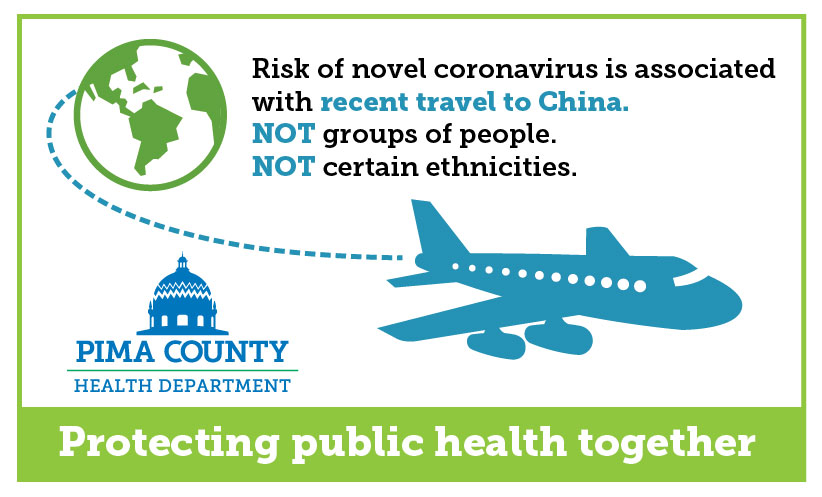 plane flying around a globe withe text reading 'risk of novel coronavirus is associated with recent travel to China. Not groups of people. Not certain ethnicities.' Pima County Health Department logo and the phrase 'protecting public health together'